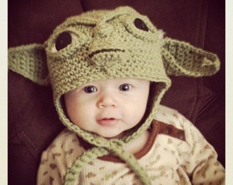 Crochet Baby/Toddler Yoda EarFlap Hat Made to Order