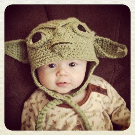 Crochet Pattern Yoda Ears : Crochet NEWBORN Yoda EarFlap Hat Made to Order