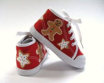 Girls Christmas Shoes, Gingerbread Sugar Cooky Red Hi Top Sneakers Hand Painted for Baby and Toddler