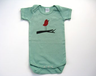 Girls Bird Bodysuit, Hand Dyed and Painted, Baby or Toddler, Short Sleeved, Snap Crotch Tshirt, Romper or One Piece
