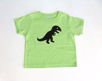 T Rex Dinosaur T Shirt, Dinosaur Theme, Dinosaur Outfit, Dinosaur Party, Hand Painted, Cotton Tee or Top, Lime Green Shirt, Baby and Toddler