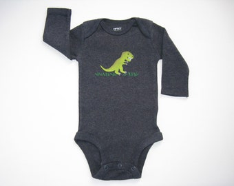 Dinosaur One Piece, T Rex Bodysuit or Romper, Dinosaur Theme Birthday or Shower, Hand Painted Snap Crotch Shirt for Babies