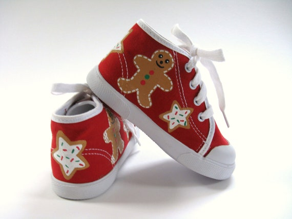 Girls Christmas Shoes, Gingerbread Cookies, Christmas Theme, Christmas Outfit, Sugar Cookie Sneakers,  Red Hi Top Sneakers, Baby and Toddler