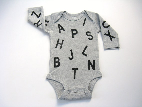 Alphabet Bodysuit, Baby and Toddler, ABC Onepiece, Hand Stamped Onepiece