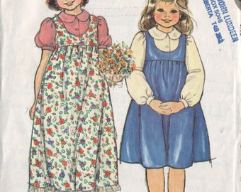 mccall's 6394, vintage 70s children's jumper dress and blouse pattern, girls' size 6, chest 25 FREE SHIPPING to canada and usa