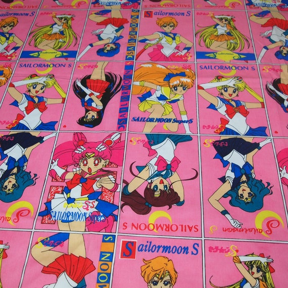 Sailor moon novelty fabric featuring anime themed by for Moon print fabric