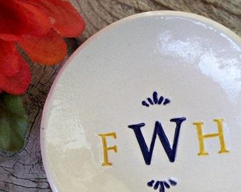 Triple Monogram Ring Bowl - Ring and Trinket Dish - Ring Dish - Ring Holder - Jewelry Dish - Jewelry Holder - Wedding Gift