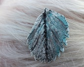 Painted Fiber Art Leaf Hairclip Turquoise Grey Pearl White Beads Quilting Free Shipping in the US