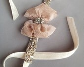 Blush Antique Lace Rhinestone Bow Cuff with Jeweled Ivory Velvet Ribbon - Cocktail Cuff