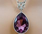 Swarovski Purple Amethyst Crystal Vintage Style Necklace Gift For Her