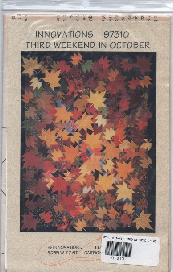 """VERY RARE new uncut pattern 1997 Innovations 97310 Third Weekend in October fall quilt by Ruth Powers finished 84"""" x 104"""""""