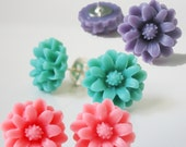 Trio of Daisy Flower Post Earrings in Pink, Mauve and Turquoise