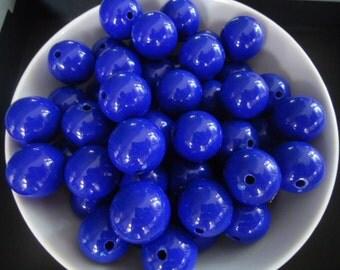 Big Round Dark Blue Resin Beads, 20mm - 8x