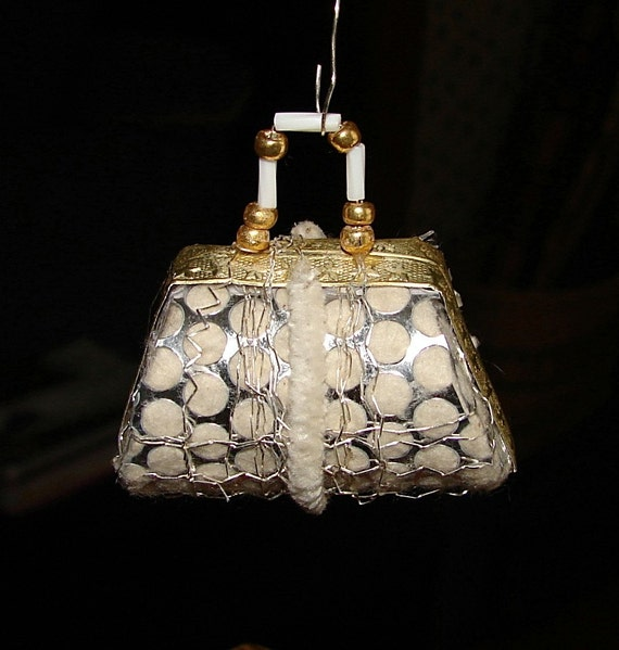 Ladies Handbag Christmas Ornament German Sebnitz