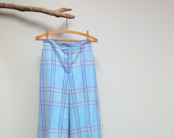 70s Saks Fifth Avenue Young Dimensions Pants, Wide Leg High Waist, Blue Plaid, Soul Train