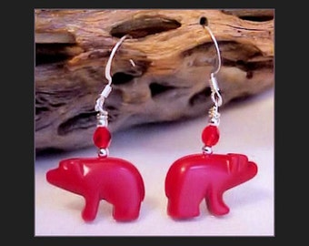 Red Walking BEAR Fetish Animal Earrings 1015B2