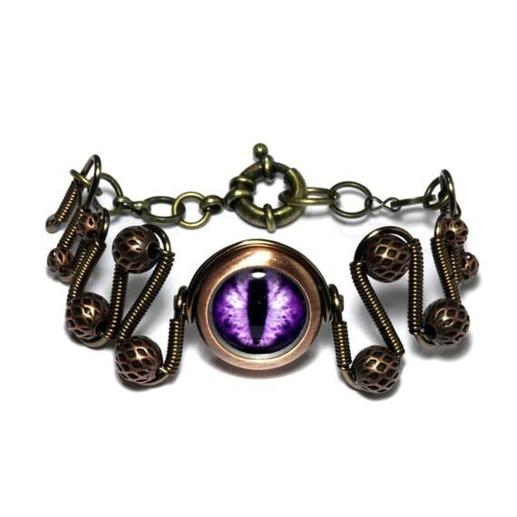 Steampunk Jewelry - Purple Beholder Eye Bracelet