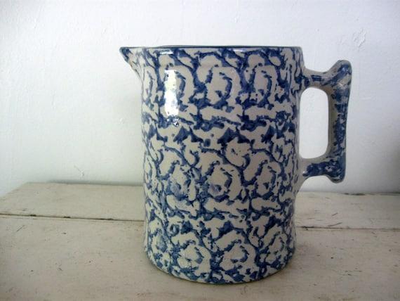 Spongeware Pitcher Antique Blue And White 6 3 4