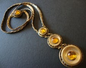 Antique Gold Tone and Amber Rhinestone Necklace