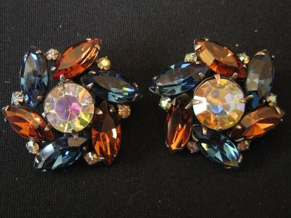 1950's Vogue Signed Aurora Borealis Rhinestone Clip Earrings