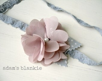 Mauve Love Dove - Girls Headband - Lavender Mauve Pink Gray White - Baby Infant Newborn Girls Adults - Photo Prop