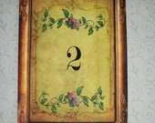 TUSCAN TaBLe NUMBERS - Made to order - Custom Table Numbers - Elegant -  Set of 12 - TTN 56