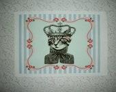 CAT -  CROWN - Royal Cat - WaLL ArT - 5 x 7 print - French scroll - Whimsiical, Delightful -  NWA 78