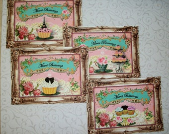 FRENCH CUPCAKES - Merci Beaucoup - Patisserie - Eiffel Tower - Set of Gift Tags Or Notecards with envelopes - FC 9098