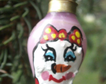 Mini Lightbulb Ornament - Snow Woman Ornament - Hand Painted On Vintage Mini Pink Bulb - Christmas Lightbulb Ornament - Snowman Ornament