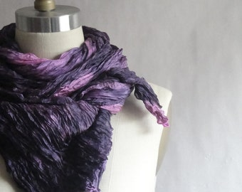 Pink Silk Scarf Hand Dyed Navy Long Fiber Art Unisex OOAK from Textured Silks Collection