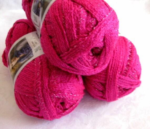 Bright PINK Red Heart Boutique Sashay yarn, Flamenco yarn, ruffling, mesh yarn,  super bulky weight