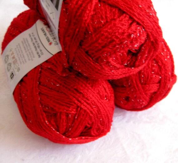 Red Heart Boutique Sashay yarn, bright RED,  ruffling scarf yarn