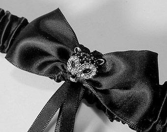 wedding garter Foxy Lady garter rhinestones black and white batchelorette Limited edition