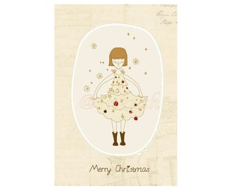 "Merry Christmas Greeting Card,  Blank Card 4 x 6 "" Print of an Original Illustration"