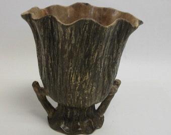 Vintage Faux Boise Ceramic Fluted Vase
