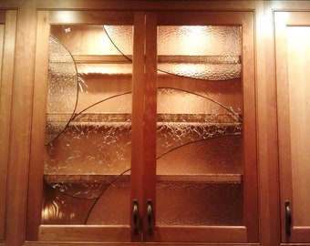 """Stained glass Cabinet Inserts - """"Simplistic flow"""" (CI-7)"""