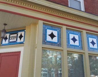 "Stained Glass windows - ""Blue Stars Set"" (W-36)"