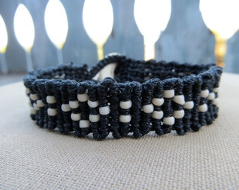 Beaded Black and White Hemp Cuff with Coconut Disc Closure - Natural Bohemian