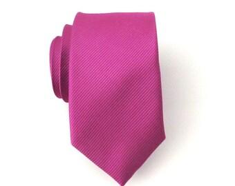 Skinny Tie. Mens Tie. Raspberry Fuchsia Tone on Tone Stripe Skinny Tie
