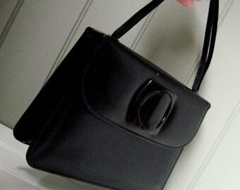 Vintage Black Leather Purse by Mar-Shel Handbag Super Cute CopperLocks Vintage San Diego California USA