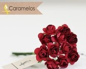 36 Miniature Dark Red Paper Roses