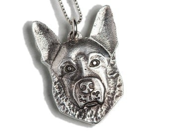 German Shepherd Necklace Jewelry Sterling Silver Dog Pendant Personalized
