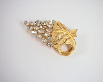 Rhinestone Gold Tone 60s Brooch Vintage Jewelry