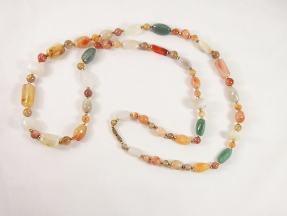 Agate Stone Bead 70s Necklace Vintage Jewelry