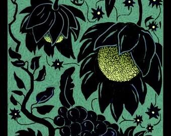 GARDEN VARIETIES 2, Botanical Garden Original Digital Drawing in 8x10 black or cream mat, Ready to Frame