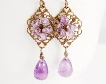 Filigree Amethyst Earrings,  Brass Drop Vintage Style Dangles Accessories Jewelry Gifts for Her Under 25