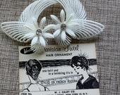 Vintage Parisian Hair Ornament New in Box never used White Bridal