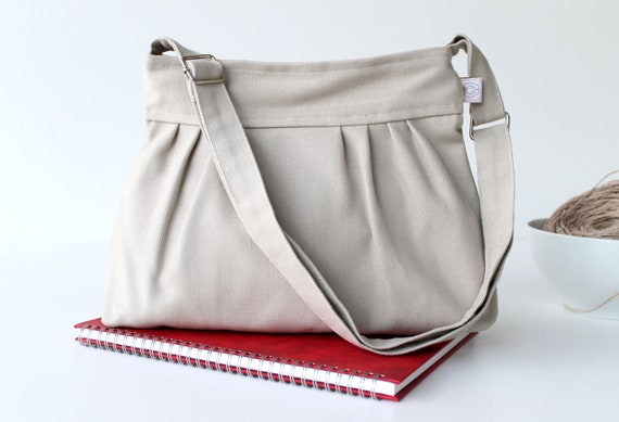 Last ONE Bag Khaki (Off White ) -Small- adjustable strap - top ZIPPERED CLOSURE - for women - for her - holiday gift - christmas - xmas