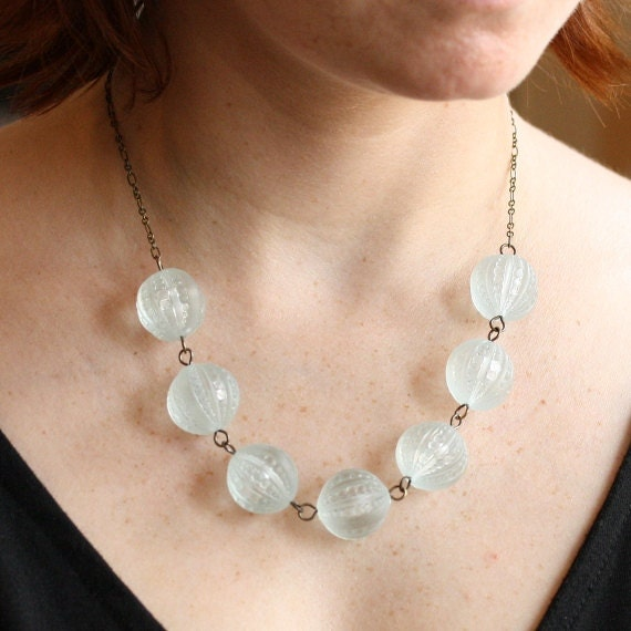 Pale Blue Beaded Necklace with Vintage Lucite Beads