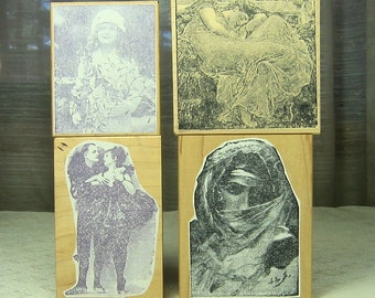 Vintage Style Rubber Stamps Used
